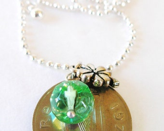 1976 Irish  Coin Charm Necklace-1976  Ireland Silver  5 Pence Coin Ireland Necklace
