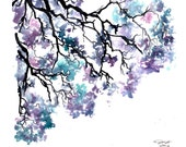 Meet me under the jacaranda tree, print from original watercolor study by Jessica Durrant