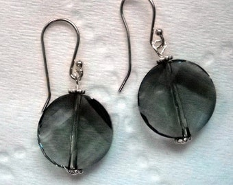 Swarovski Black Diamond Twist Crystal Earrings,Sterling Silver,Handmade Jewelry,Bridal Gifts, Wedding Day, FREE U.S.A. SHIPPING