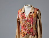 Reserved for Ana Vintage 70s Silk Embroidered Sequin Vest Sz Small