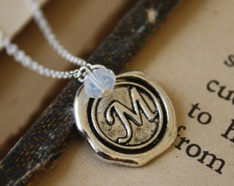 Wax Seal Initial Necklace with Birthstone, Monogram Necklace, Wax Seal Necklace, Personalized Initial Necklace