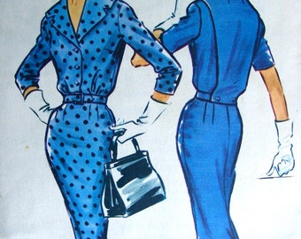 McCall's 4670 Vintage 50's Sewing Pattern  -  PRETTY Wiggle Dress with Back Interest for Evening  - UNCUT - size 14/34