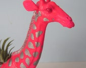 Upcycled Toy Planter - Neon Pink Giraffe with Silver Spots and Air Plant