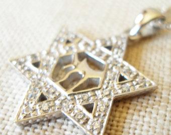 Star of David Pendant with Chai Symbol
