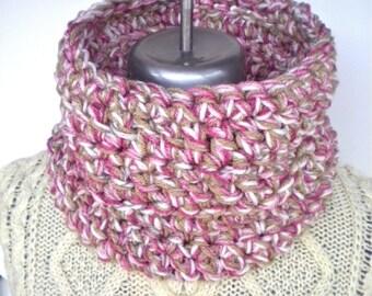 Cowl Neckwarmer Pink Taupe Cream Crochet