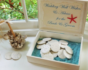 Custom Wedding Guest Book Alternative Unique Guestbook Well Wishes and Advice Beach Wedding Theme Personalized Box