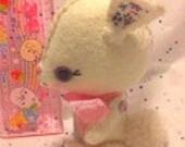 Poseable Plush Toy Bunny, White Wool Felt Miniature Gingermelon
