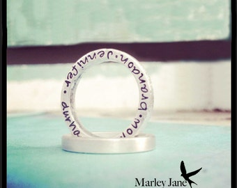 Sterling Silver Stacking Ring - Custom Matte Silver Message Personalized Mother Children Child Mom Baby Wife