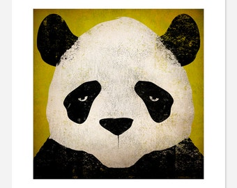Giant PANDA Bear GRAPHIC ART Illustration 12x12 giclee print Signed