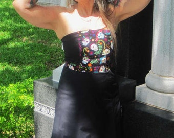 day of the dead dios de los muertos sugar skulls SALE! women dress size 12 OOAK pinup glamour goth rockabilly psychobilly tattoo punk anchor