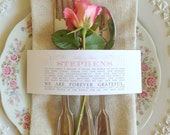 50 QTY - Wedding Guest THANK YOU Napkin Wraps, Customizable & Affordable