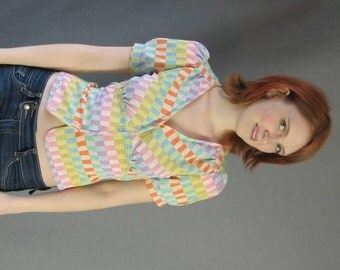 70s Babydoll Crop Top Vintage Blouse Pastel Checkerboard Small