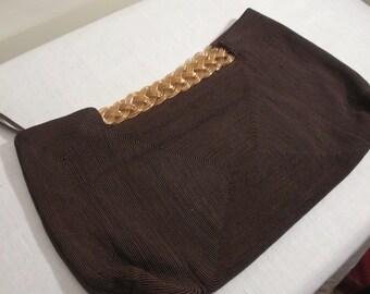 Vintage Brown Cordé Envelope Clutch Purse with Gold Braid