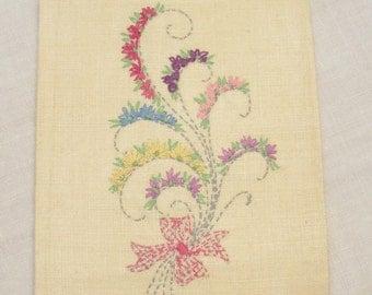 Vintage Floral Embroidered Linen Guest Towel