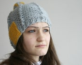 Gray  Wool Hat Beanie  Yellow  Patchy withf Big PomPom  For Her