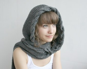 Hand Knitted Dark Gray Wool Hooded Cabled Long Scarf , Knit Grey Cowl , Mother's Day gift