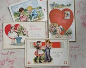 7 1920s Valentine Postcards Sweet Children Babies Cherubs