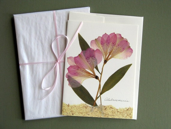 Alstroemeria flowers, pressed flower card, soft colors, greeting card no.1156