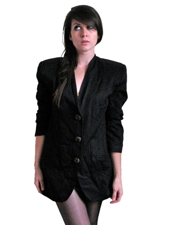 Black Boyfriend Blazer, 80's Black Sportscoat Jacket by Rafaella, MEDIUM