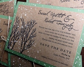 Winter wedding save the date hand painted snow in tree