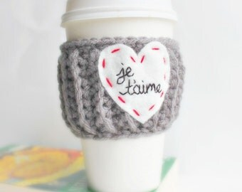 Travel Cup Cozy, Starbucks Cup Sleeve, Je Taime, French, France, Paris, Love, Valentines Day, Anniversary, Engagement, Honeymoon Gift, Reuse