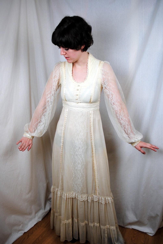 Vintage 1970s gunne sax lace wedding dress size 9 for Gunne sax wedding dresses