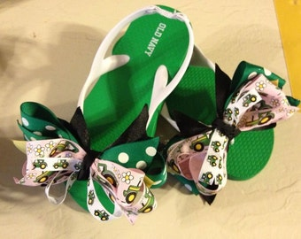 Little Girl's size 11 Flip Flops with Green Tractor Boutique Bows