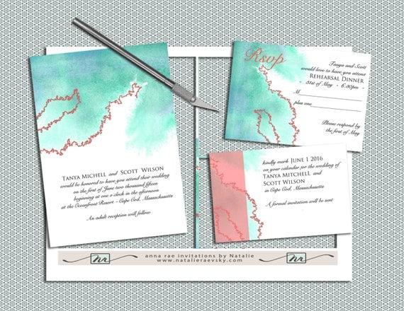 DIY Watercolor And Coral Printable Wedding Invitation Suite