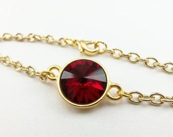 Garnet Red Chain Bracelet, January Birthstone Jewelry, Gold Chain Bracelet, Gold Jewelry Crystal