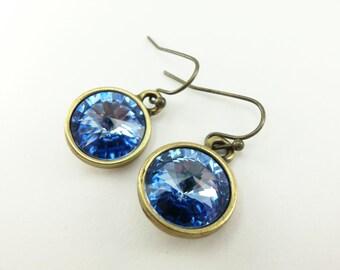 Light Sapphire Drop Earrings Light Blue Earrings Antiqued Brass Earrings Blue Jewelry