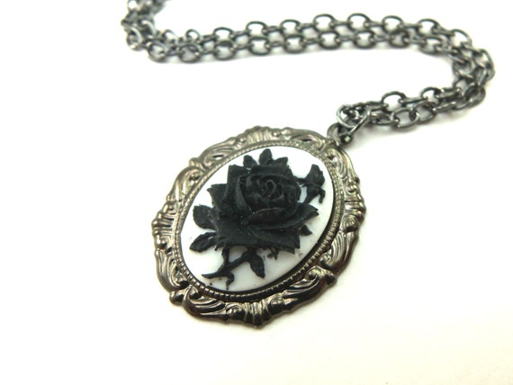 Black Rose Necklace Gothic Rose Pendant Black Necklace Black Jewelry Dark Silver Gunmetal Victorian
