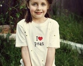 Organic t shirt: 'I love peas'  Sizes Available From 3 Months To 7 Years