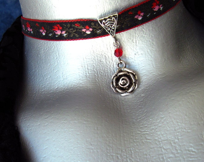 Silver Rose Pendant Ribbon Choker Necklace -- Customizable