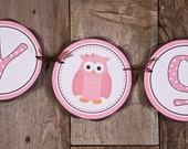 Owl Themed BABY SHOWER It's a Girl Banner, Owl Baby Shower Decorations Pink and Brown