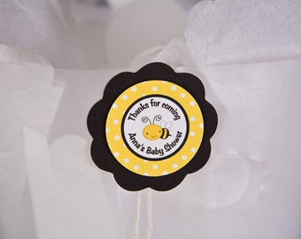 Bee Themed FAVOR TAGS in Yellow and Black Baby Shower Decorations (12)