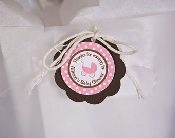 Pink Carriage Baby Shower Favor Tags - Baby Shower Decorations - Baby Girl Thank You Tags in Pink and Brown (12)