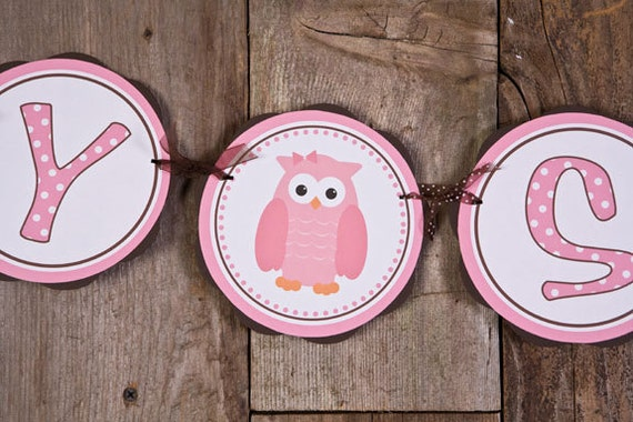 Owl Themed BABY SHOWER It's a Girl Banner by getthepartystarted
