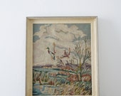 CLEARANCE SALE, 75% OFF! Vintage Framed Cross-stitch Art, Ducks Flying Over Marsh, Handmade in 1955