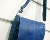 Deep Blue Striped  Patchwork  LEATHER Messenger Bag Purse