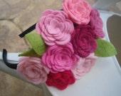 Pink Roses Felt Flower Headband