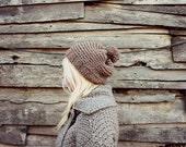 Womens Hand Knitted Pom Pom Beret- Beige Pom Pom Hat . Pompom Hat for Woman . Wool Pom Pom Hat . Knitted Beanies . Slouchy Beanie Hat
