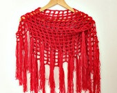 Triangle Fringe Scarf- Coral Red Scarf- Crochet Scarf- Fringed Shawl Scarf- Linen Wool- Bohemian Scarf- Fringed Boho Scarf- Womens Gift