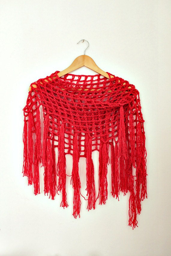 Crochet Cover Up - Triangle Fringe Scarf- Coral Red Scarf- Boho Crochet Scarf- Fringed Shawl - Linen Wool - Bohemian Scarf- Womens Gift