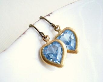 Sapphire Heart Drop Earrings In Brass, Jewels, Light Sapphire Glass Earrings, Blue Earrings, Vintage Stone Earrings