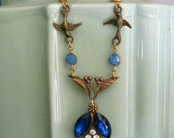 Sapphire Blue Flower and Birds Necklace OOAK Vintage Parts Flower and Leaves Birds in Flight Steam Punk/ Gatsbyesque