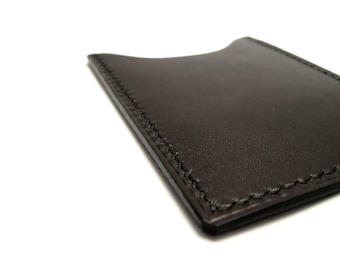 Black Calf Leather Vertical Card Case, Wallet , Sleeve, ID metro debit credit card, front pocket wallet, corporate gift