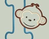 Mod Monkey Boy Applique Design with Number 1