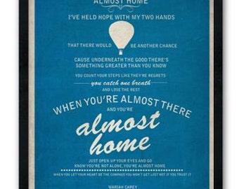 Almost Home / Mariah Carey / Lyric / DIGITAL Typography Poster / Printable