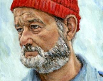 Bill Murray as Steve Zissou - Print - Life Aquatic Portrait Painting - Wes Anderson - 5x7 8x10 11x14