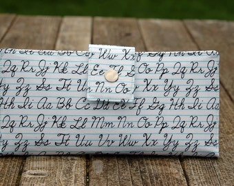 Handwriting handmade wallet clutch white with black handwriting practice